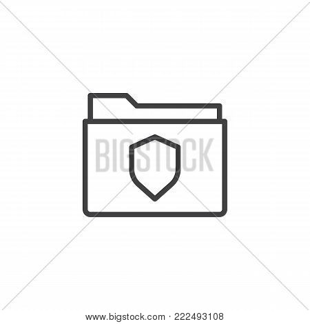 Folder protection line icon, outline vector sign, linear style pictogram isolated on white. File folder with secure shield symbol, logo illustration. Editable stroke