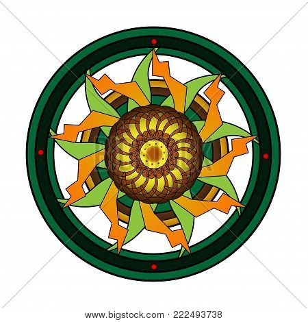 Round ornament with elaborate designs on a dark beige background. In the center of the yellow shades