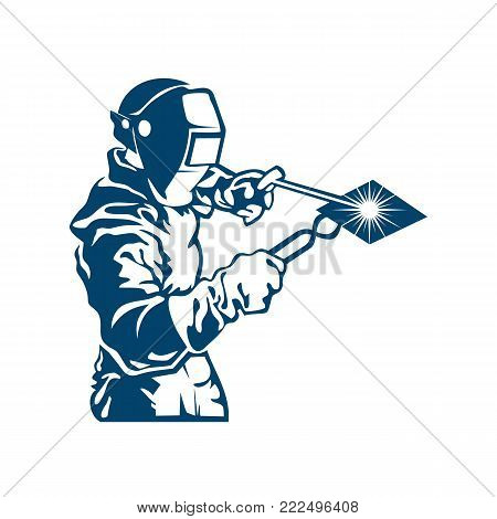 Vector of welder and welding work on white background.