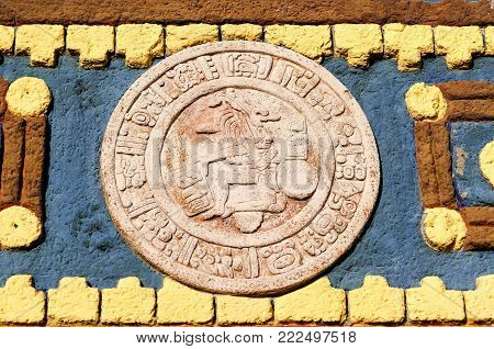 Typical Colored Clay Maya Mexican Calendar symbol