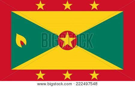 Flag of Grenada in national colors, vector