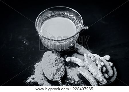Tea Of Turmeric,curcuma Longa With Its Powder.