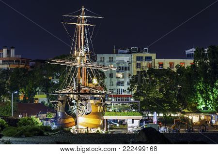 Pirate ship in the city of Varna by night
