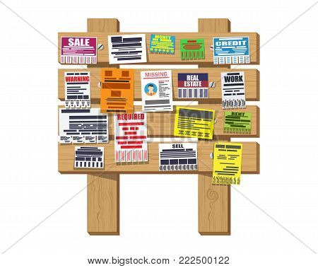 Various tear off papers ad on wooden signboard. Advertisement and announcement, sell, rent, missing human, credit, work, money. Vector illustration in flat style
