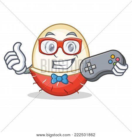 Gamer rambutan mascot cartoon style vector illustration poster