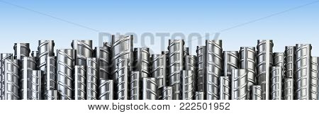 Reinforcements steel bars in row. Industrial background. Building armature. 3d illustration isolated on a blue.