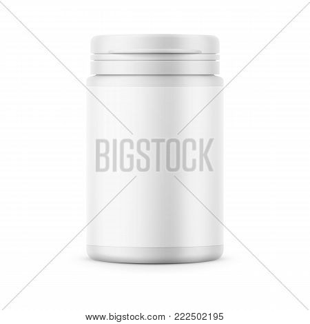 White matte plastic bottle with snap hinge push on cap for medicine, tablets, pills. Photo-realistic packaging mockup template with blank label. Front view. Vector 3d illustration.