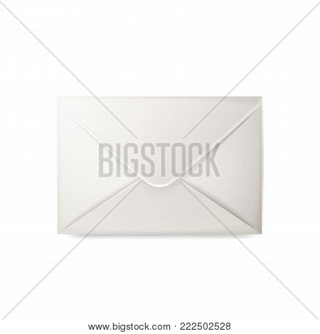Vector realistic 3d envelope. Standart empty white post letter cover. Business post mail, office documents, message, corporate identity design mockup template. Isolated illustration, white background