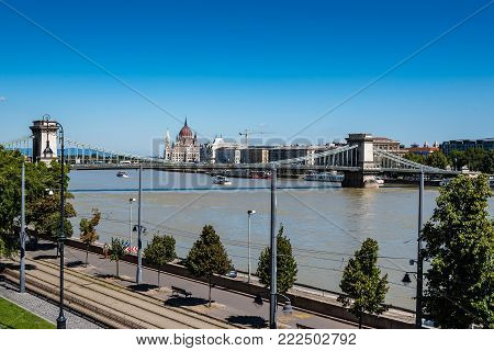 Budapest, Hungary - August 14, 2017:  High angle view of Budapest from Buda Castle Gardens with Chain Bridge on background