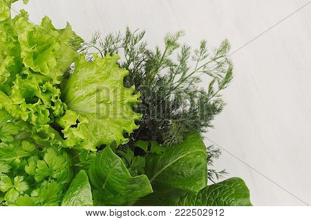 Different green sheaves greens for spring salad on white wooden background, top view.