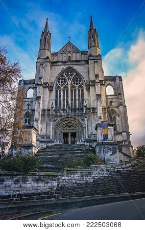 Stairs and St. Paul Cathedral in Dunedin, New Zealand