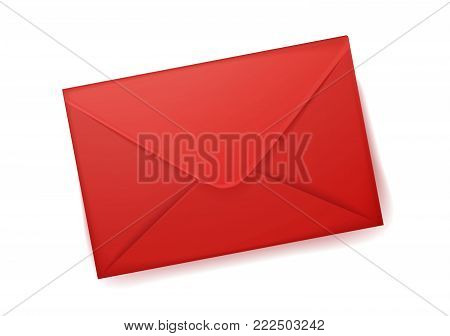 Vector realistic 3d red envelope. Standart empty post letter cover. Business post mail, office documents, message, corporate identity design mockup template. Isolated illustration, white background