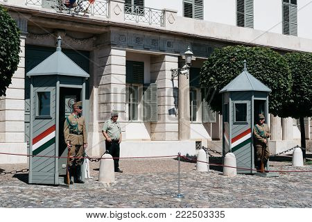 Budapest, Hungary - August 14, 2017:  Soldiers guarding the presidential building in the Castle of Buda