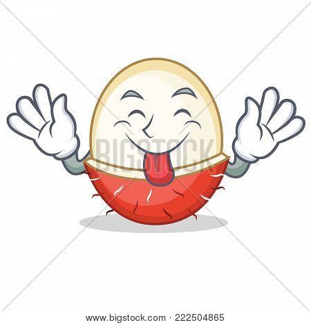 Tongue out rambutan mascot cartoon style vector illustration