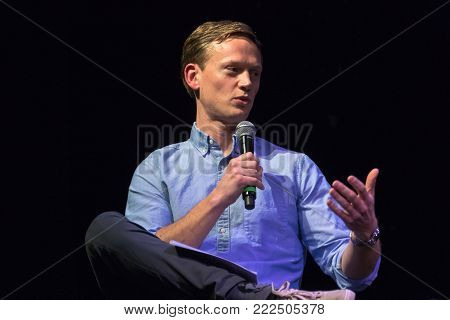 LOS ANGELES, CALIFORNIA - JANUARY 17, 2018: Pod Save The World host Tommy Vietor discussing the documentary