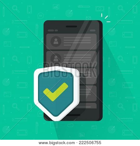 Smartphone shield vector illustration, flat cartoon design of mobile phone with security protection, concept of cellphone protect, internet safety tech, antivirus system, guard software icon