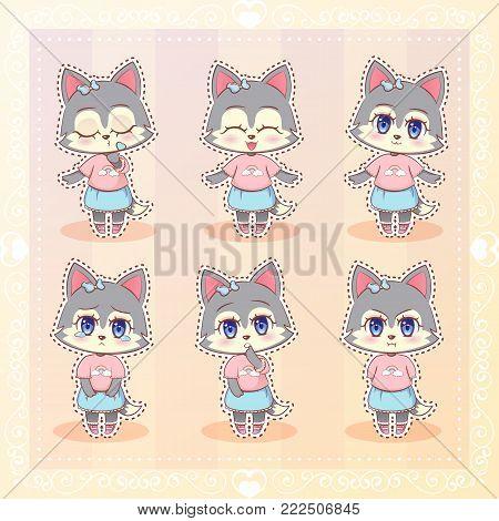 Sweet Kitty Little Cute Kawaii Anime Cartoon Cat Kitten Girl In Dress With Long Fluffy Ears Differen