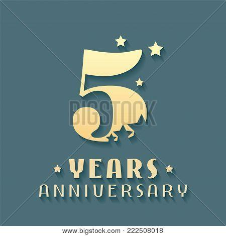 5 years anniversary vector icon, symbol, logo. Graphic design element for 5th anniversary birthday card