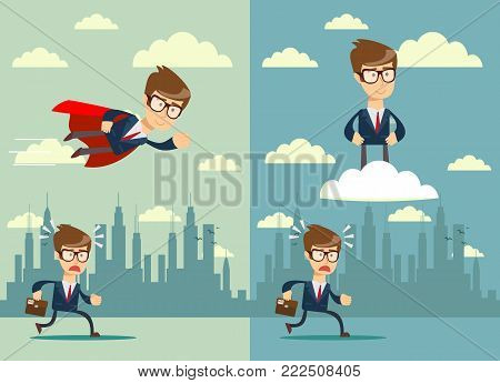 Business competition. Competitive advantage . Stock flat vector illustration