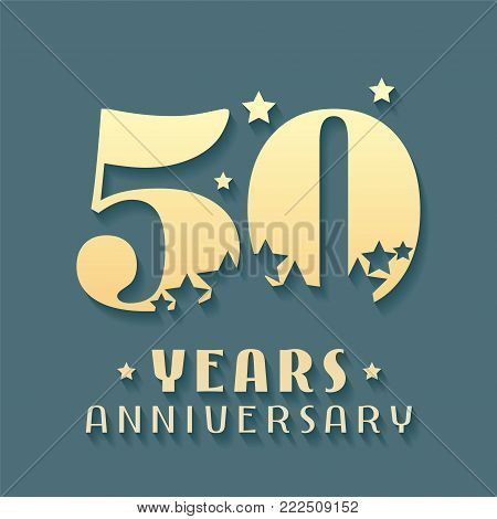 50 years anniversary vector icon, symbol, logo. Graphic design element for 50th anniversary birthday card