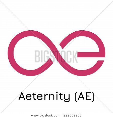 Vector illustration crypto coin icon on isolated white background Aeternity (AE). Name of the crypto currency and the short trade name on the exchange. Digital currency