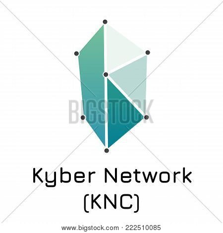 Vector illustration crypto coin icon on isolated white background Kyber Network (KNC). Name of the crypto currency and the short trade name on the exchange. Digital currency