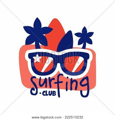 Surfing club logo, surf retro badge with sunglasses vector Illustration isolated on a white background