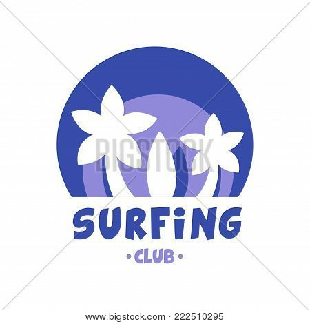 Surfing club logo, surf retro badge in blue color for surf school, beach rest, summer water sports vector Illustration isolated on a white background