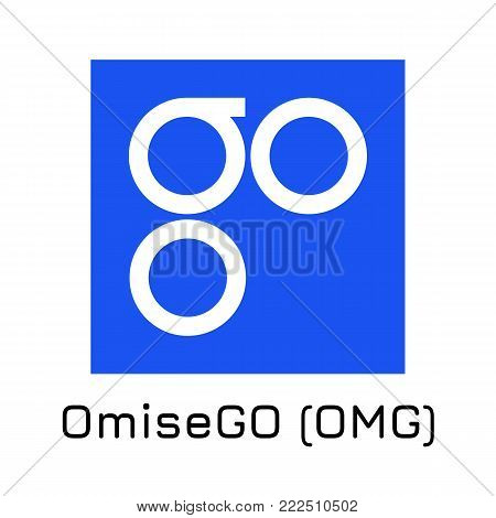 Vector illustration crypto coin icon on isolated white background OmiseGO (OMG). Name of the crypto currency and the short trade name on the exchange. Digital currency