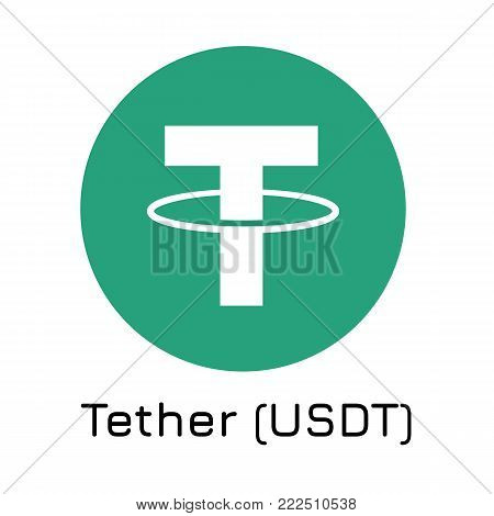Vector illustration crypto coin icon on isolated white background Tether (USDT). Name of the crypto currency and the short trade name on the exchange. Digital currency