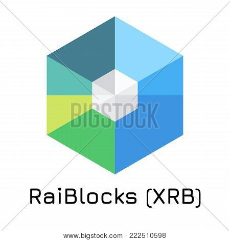 Vector illustration crypto coin icon on isolated white background RaiBlocks (XRB). Name of the crypto currency and the short trade name on the exchange. Digital currency