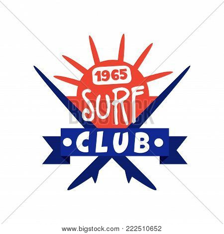 Surfing club logo since 1965, surf retro badge vector Illustration isolated on a white background