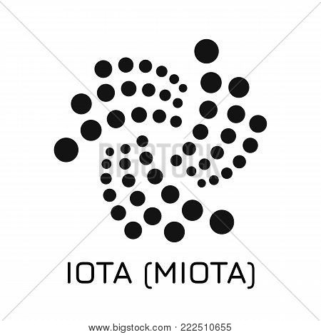Vector illustration crypto coin icon on isolated white background IOTA (MIOTA). Name of the crypto currency and the short trade name on the exchange. Digital currency