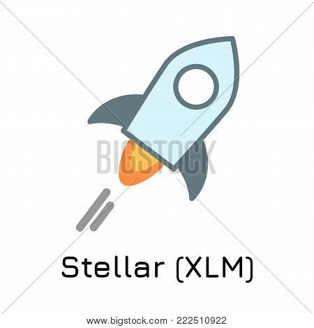 Vector illustration crypto coin icon on isolated white background Stellar (XLM). Name of the crypto currency and the short trade name on the exchange. Digital currency