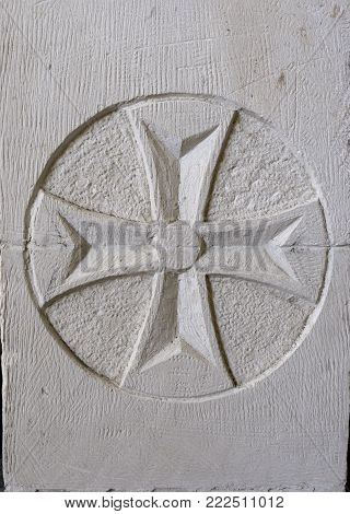 Georgian cross carved in stone, Mtsheta, Georgia