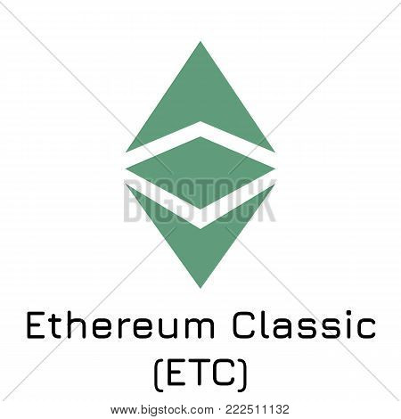 Vector illustration crypto coin icon on isolated white background Ethereum Classic (ETC). Name of the crypto currency and the short trade name on the exchange. Digital currency