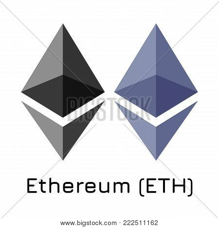 Vector illustration crypto coin icon on isolated white background Ethereum (ETH). Name of the crypto currency and the short trade name on the exchange. Digital currency