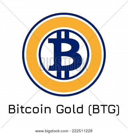Vector illustration crypto coin icon on isolated white background Bitcoin Gold (BTG). Name of the crypto currency and the short trade name on the exchange. Digital currency