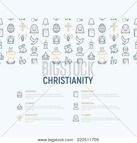 Christianity concept with thin line icons of priest, church, nun, crucifixion, Jesus, bible, dove. Vector illustration, web page template.