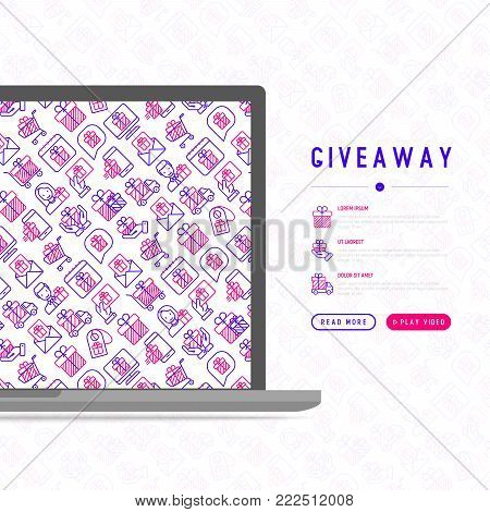 GIveaway or gifts concept with thin line icons set: present in hand, trolley, cart, truck, envelope. Modern vector illustration, web page template.