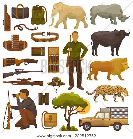 Hunt safari vector hunterman character in Africa with hunting ammunition or hunters equipment rifle shooting and african animals lion elephant wildlife set illustration isolated on white background.