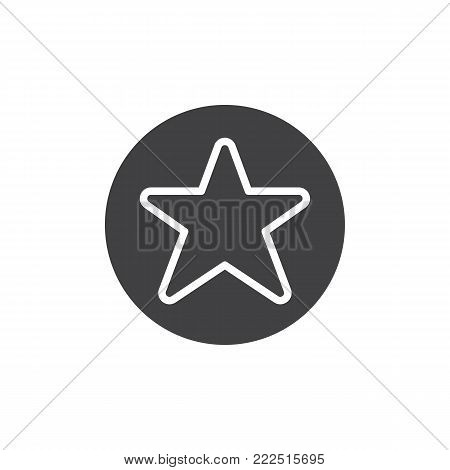 Favorites button icon vector, filled flat sign, solid pictogram isolated on white. Star in circle symbol, logo illustration.