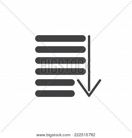 Sorting icon vector, filled flat sign, solid pictogram isolated on white. Order symbol, logo illustration.