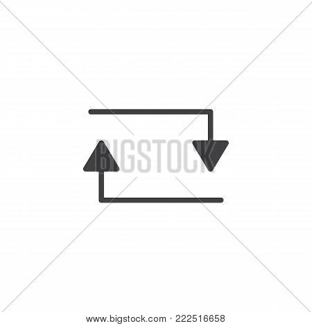 Arrow loop repeat icon vector, filled flat sign, solid pictogram isolated on white. exchange symbol, logo illustration.