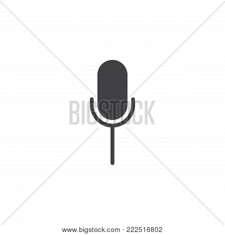 Microphone icon vector, filled flat sign, solid pictogram isolated on white. Mic symbol, logo illustration.