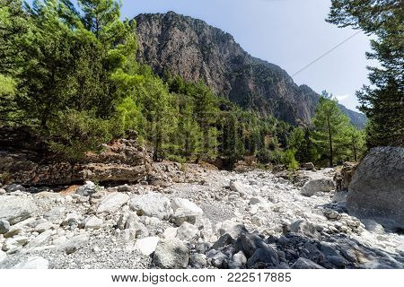Samaria gorge national park. Hiking at Crete island, Greece