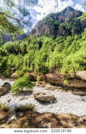 Canyon Samaria gorge in Crete island, Greece