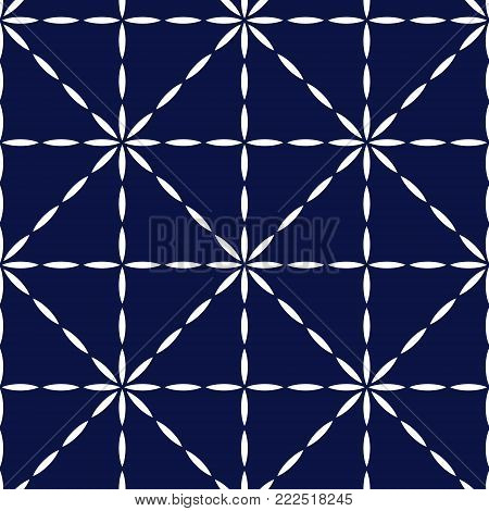 Blue and white quilted fabric geometric seamless pattern, vector background