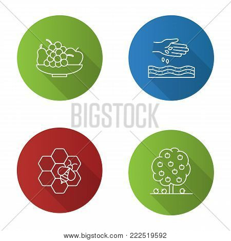 Agriculture flat linear long shadow icons set. Farming. Bowl with fruits, sowing, beekeeping, fruit tree. Vector outline illustration