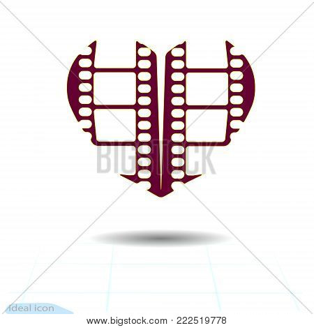 Heart icon. A symbol of love. Valentine s day with the sign of the Frame of film strip. Flat style for graphic and web design, logo. Camera and cinema films concept. Film countdown. Vector.